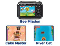 Game On!Play games in between takes. The camera comes with 3 games: buzz around with Bee Mission, stack cake layers with Cake Master or navigate the rocky waters with River Cat.